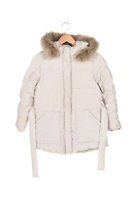 ZARA Girls Parka Jacket 10 Beige Puffer Faux Fur Trim Hood Coat Kids Winter 140