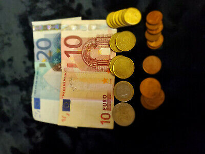 35.33 euros eur euro cash money real currency left over from vacation