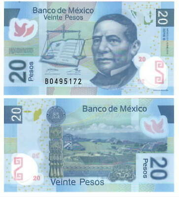 Mexico 20 Pesos P 122j 2012 UNC Serie R Low Shipping Combine FREE Polymer 122