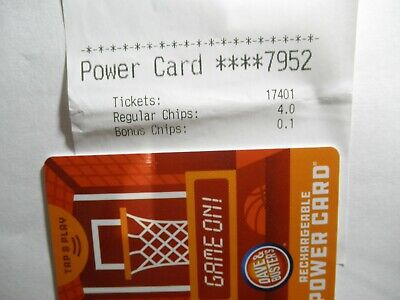 Dave & Busters Power Card  with 17,401 Tickets ~ D & B