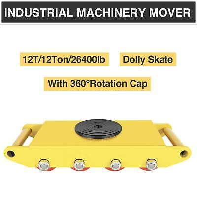 12T Industrial Machine Mover w/360°Rotation Cap 8 Roller Heavy Duty Dolly Skate