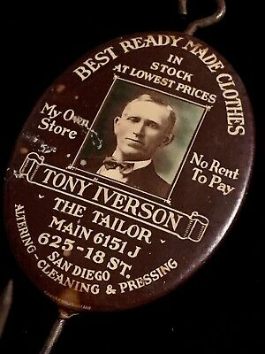 Vintage ADVERTISING Celluloid BILL / RECEIPT HOOK Tony Iverson the Tailor.