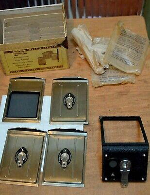 Genuine Rollei Rolleicord Rolleiflex Cut Film Plate Adapter Set With Box