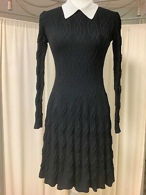 SANDRO PARIS BLACK/WHITE COLLAR LONG SLEEVE FIT AND FlARE DRESS XS