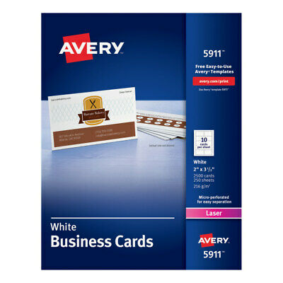 """Business Card, Laser, 2""""x3-1/2"""", 2500/BX, White"""