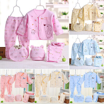 Baby Infant Cotton Clothing Set Girls Boy Outfits Newborn Caring Gift 5pcs 0-3M