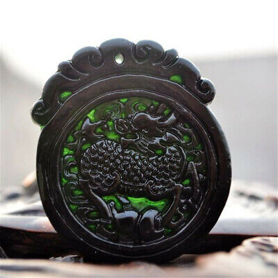Natural Black Green Beast Jadeite Carving Jade Unicorn Pendant Good Lucky Amulet