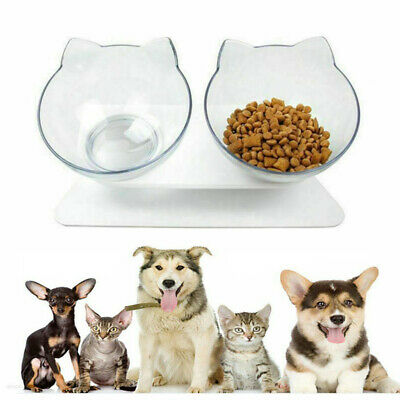 Pet Food Bowls Stand Cat Dog Single/Dual Water Bowl Raised Elevated Angle Adjust