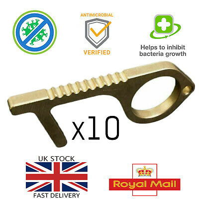 x10 Hand Hygiene Antimicrobial Brass Door Opener Key Chain Contactless
