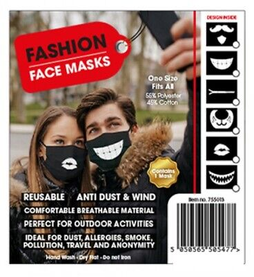 Black Reuseable Face Mask Reusable wash Non-Medical Funny Novelty Adult Travel