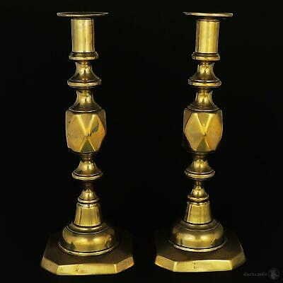VICTORIAN ' THE QUEEN OF DIAMONDS ' BRASS CANDLESTICKS c1897 James Clews & Sons