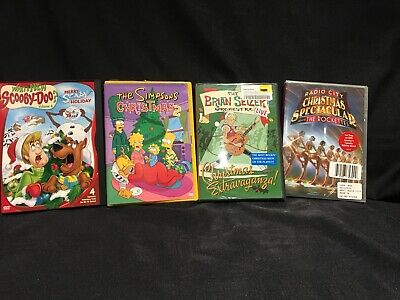 4 DVD Christmas Holiday Lot Brian Setzer Orchestra The Rockettes Simpons 2 Scoob