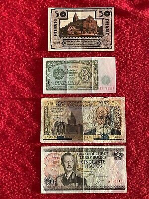 1972 LUXEMBOURG 50 FRS, FRENCH 5NF 1961, GE 50 PFENNIG 1921 & 3 ? Notes