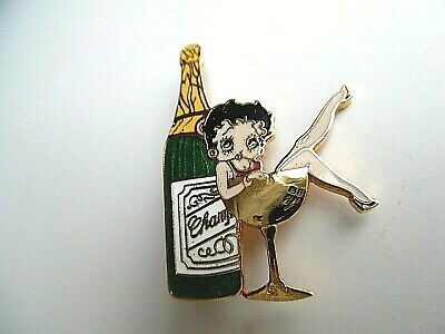 Betty Boop Enameled Pin Sitting in Glass w/Bottle of Champagne ~EXC~ 1 DAY SHIP