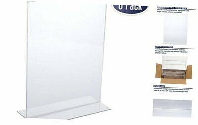 Acrylic Sign Holder 8.5 x 11 - Acrylic T Shape Table Top Display Stand, 6 Pack