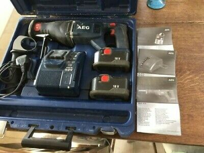 AEG BUS 18 X Reciprocating Alligator Saw 18V 2x 2.0AH Batteries Charger and Case