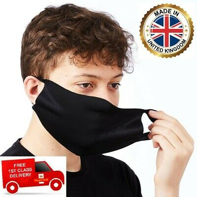 Black Adult One Size Reusable And 60c Washable Face Nose Mouth Mask **UK MADE**