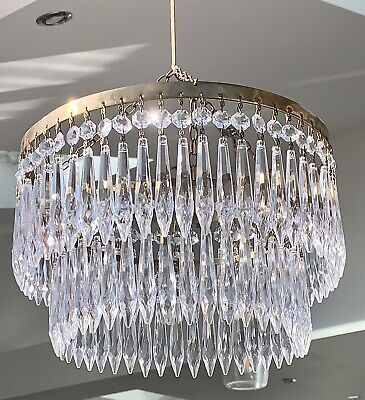 Antique Waterfall Crystal Chandelier Old Light