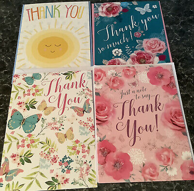 Pack Of 4 Thank You Blank Inside Greetings Cards Cards Various Sets