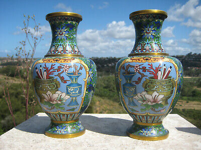 Antique Beautiful Chinese Brass Blue Cloisonne Vase Calligraphy Design  Pair