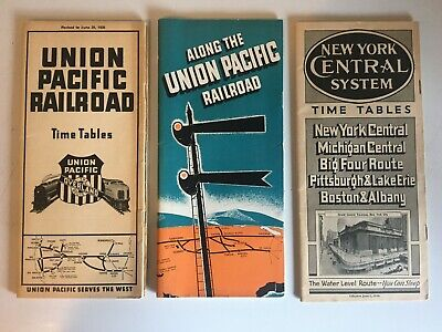 3 1936 UNION PACIFIC Overland & New York Central System Railroad Timetables