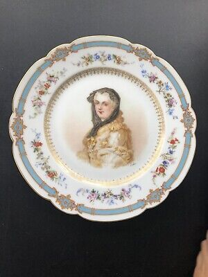Antique Sevres Portrait of Marie Leczinska Scallop Blue & Floral Gold Rim Plate
