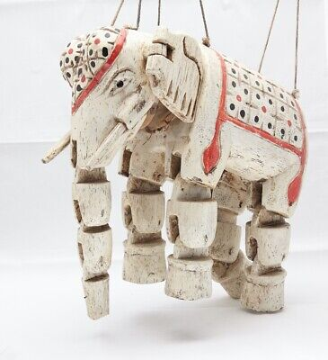 Antique Hand Carved India Wooden Elephant MARIONETTE, PUPPET beautiful!