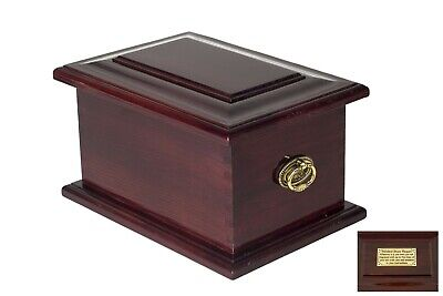 Human Casket Urn for Ashes Wooden brass handle Personalised Inscription Memorial