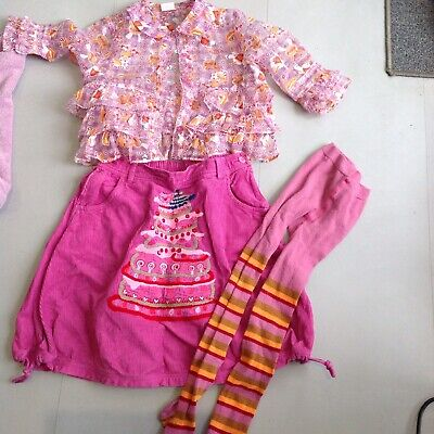 Oilily Designer Girls Cake Skirt Blouse And Matching Tights Age5-6Lovely Outfi
