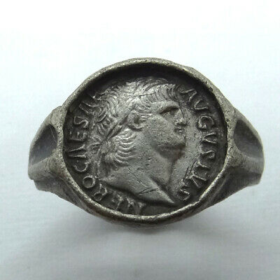 Roman Ancient Artifact Silver Ring With Emperor Nero