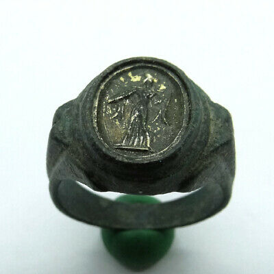 Roman Ancient Artifact Bronze Ring With Silver Goldplated Gem Roman Senator