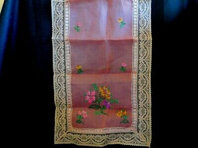 """Antique Hand Embroidered Lace & Ribbon Table Runner Dresser Scarf 42"""" x 14"""""""