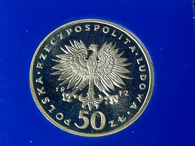 1972 Poland 50 Zloty Silver Gem Proof Commemorative Chopin Coin Blue Case