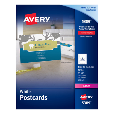"""Laser Postcards, Perforated, 4""""x6"""", 100/BX, White"""