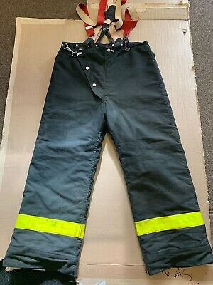 Vintage Globe Firefighter Pants W/Suspenders Quilted Liner Turnout Gear Size 54
