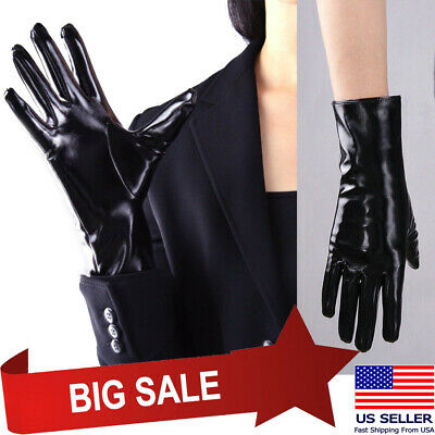 Women Black Shiny Short Wet-Look Gloves Small Cosplay Faux PVC Latex Costume USA