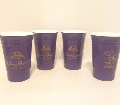 Crown Royal Purple Solo Cups Worthy of the Crown Insulated Plastic Set of 4