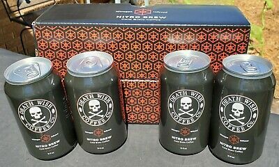 💀☕☠️ 2017 DEATH WISH COFFEE Nitro Brew Collectible 11 oz Cans w/ ORIG BOX 💀☕☠️