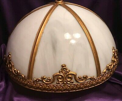 BEAUTIFUL ANTIQUE SIX PANEL SLAG GLASS & BRASS HANGING or LAMP DOME SHAPE SHADE