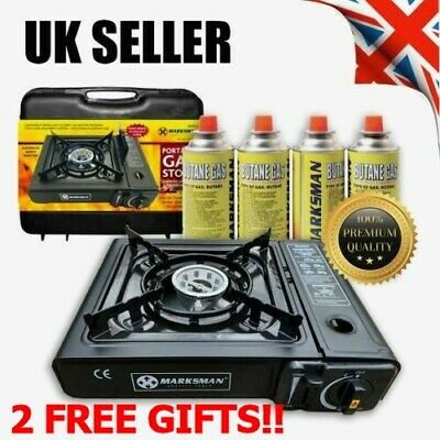 Portable Gas Stove Cooker Burner Camping Garden 4 Butane Refills 2 FREE GIFTS !!
