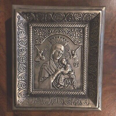 Russian ICON MADONNA & CHILD,  SILVER Metal RIZA, HAND DECORATED, GREAT DETAILS
