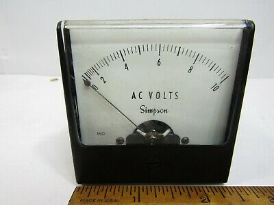 Simpson 10VAC  Panel Meter Analog  2 1/4""