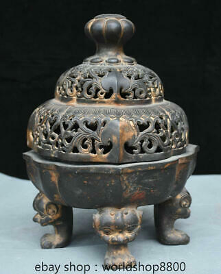 """12"""" Marked Old China Red Copper Gold Dynasty Palace Foo Dog Lion Feet Censer"""