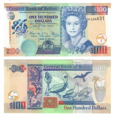 BELIZE $100 Dollars (2016) P-71c - UNC Banknote Paper Money - Queen Elizabeth II