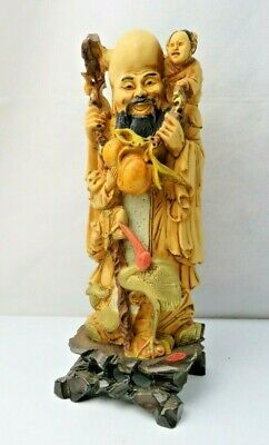 Vintage Chinese God Longevity Peach heavy resine statue made in Italy ArtMark