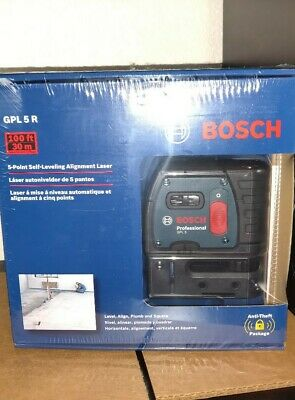 Bosch GPL 5 R Self Leveling 5-Point Alignment Laser NEW Sealed PlumbSquare GPL5R