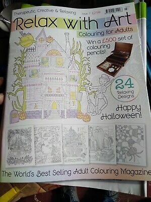 Relax with art colouring books x 5 issue 7 adult colouring magazine 24 designs