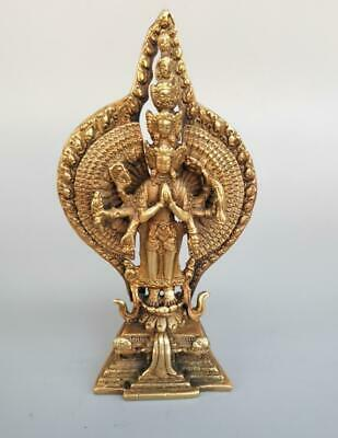 Chinese exquisite pure brass eight arm Thousand-Hand Kwan-yin Small statue