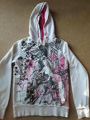 New Look size 10 girls/ladies white pink and black graphic hoody