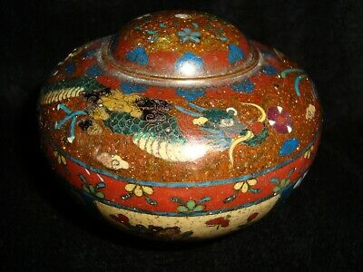 Japanese Meiji Period Dragon & Phoenix Cloisonne Squat Jar